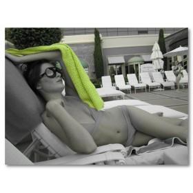 Αφίσα (γυναίκα, μπικίνι, γυαλιά ηλίου, πετσέτες, κολύμπι, πισίνα, μαύρο, λευκό, άσπρο)